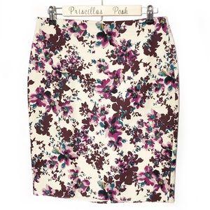 Ann Taylor Cream Floral Print Pencil Skirt SZ 4